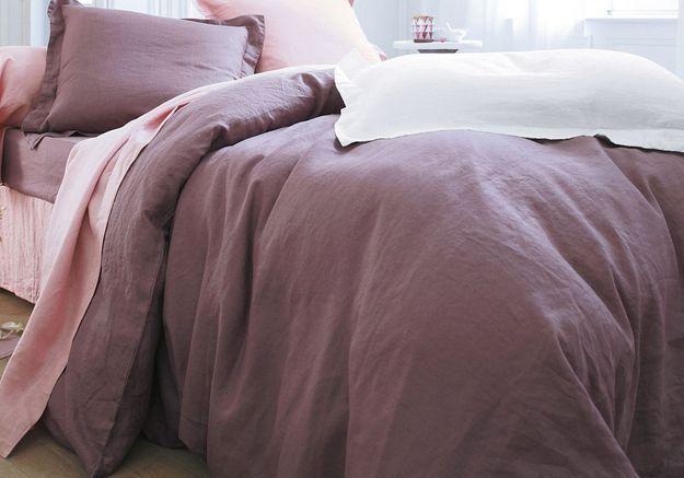 Linge de lit en lin lavé rose, Becquet