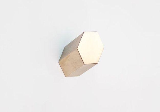 Patère design hexagonale