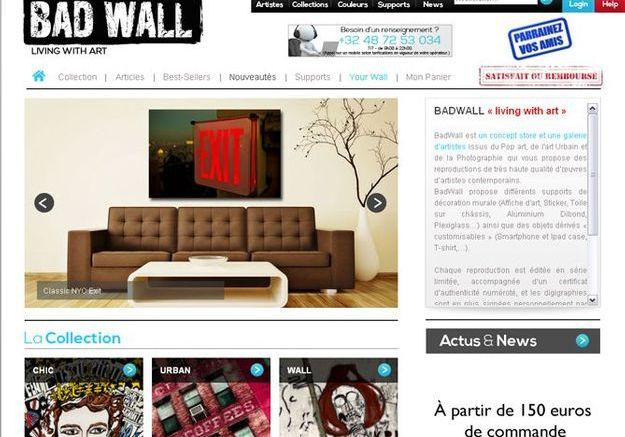 Pour les fans de l'art urbain : badwall.com