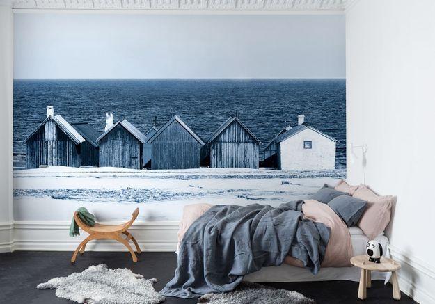 Une chambre bleue à l'esprit bord de mer