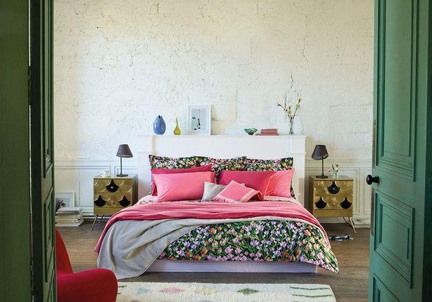 L'idée à retenir : oser le linge de lit fleuri