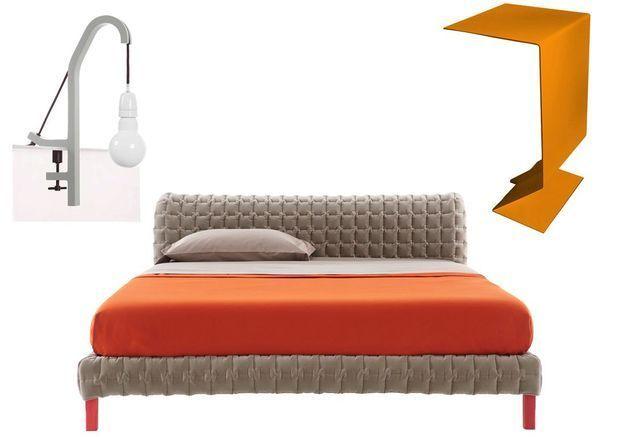 Chambre beige et orange