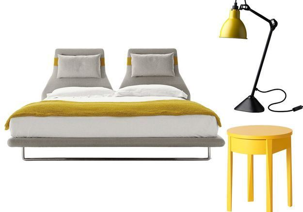 lit chevet lampe le bon mix pour une chambre id ale elle d coration. Black Bedroom Furniture Sets. Home Design Ideas