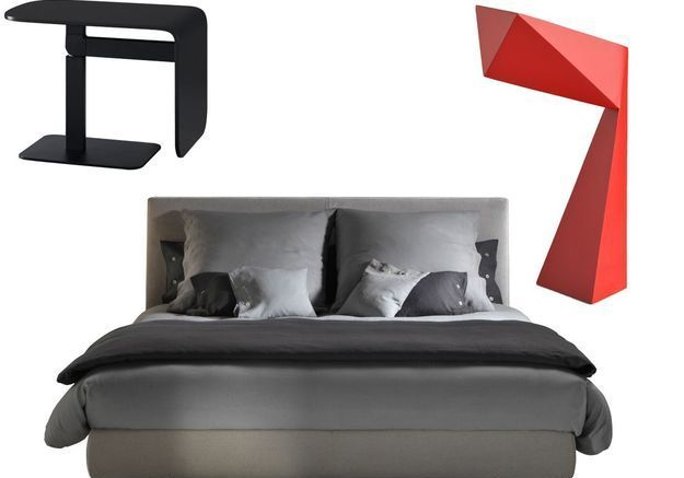 Chambre rouge et anthracite