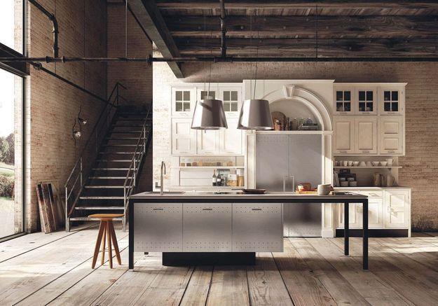 Une cuisine campagne qui marie meubles anciens et contemporains