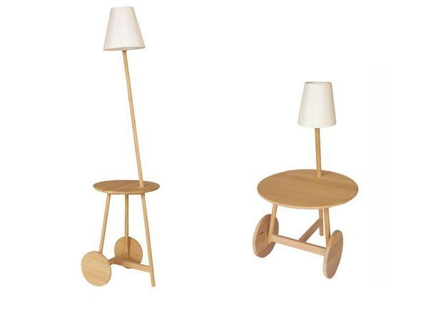 Table d'appoint à roulettes / lampe