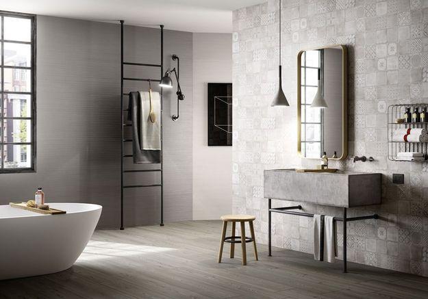 Une salle de bains design qui revisite les carreaux de ciment