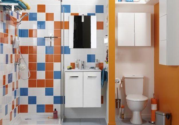 Une petite salle de bains sur un pan de mur