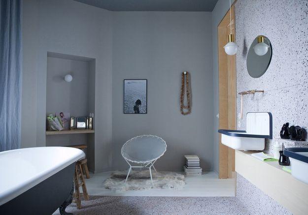 Salle de bains bleue Marie Sixtine