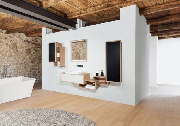 Salle de bains design effet matière