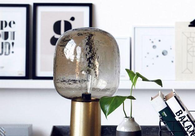 Lampe à poser en verre et aluminium