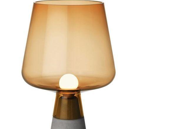 Lampe à poser en verre et béton