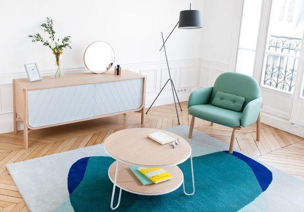 Table basse en bois à deux niveaux