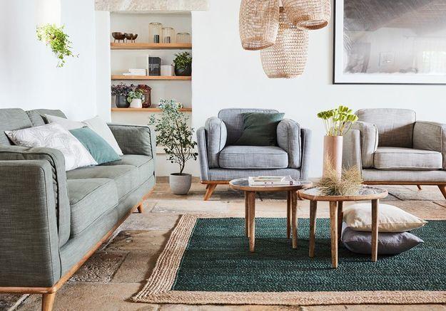 Un salon blanc à l'ambiance végétale