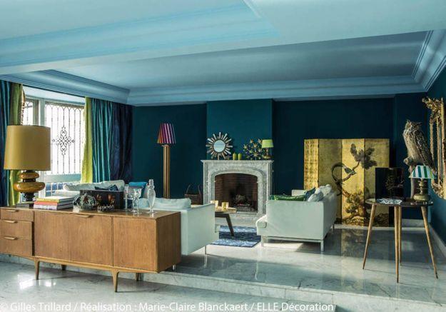 Salon bleu canard
