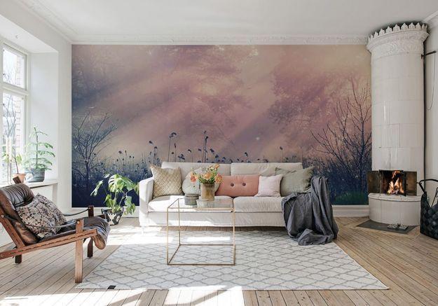 Un salon coloré rose, mauve et blanc