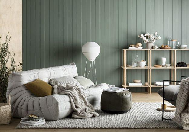 Un salon coloré vert et beige