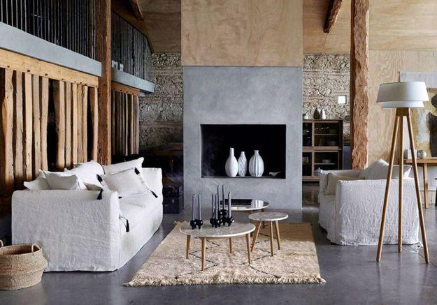 Un salon gris à l'esprit zen