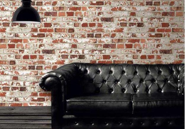 Un papier peint effet mur de briques à 6,95€ le rouleau
