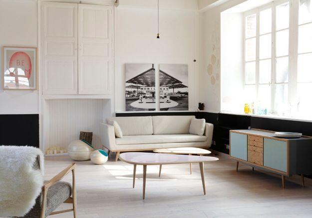 Un salon noir et blanc vintage