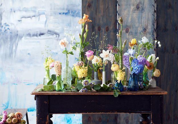 Une décoration végétale via un mix & match de vases