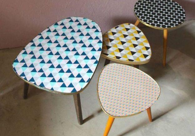 Du papier peint pour donner du style à une table basse