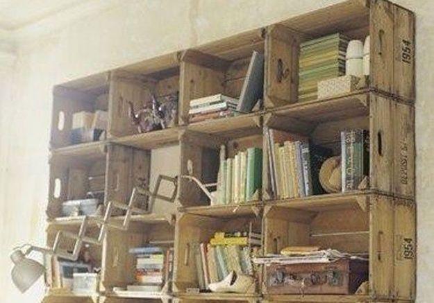 2. Des cagettes vintage comme bibliothèque