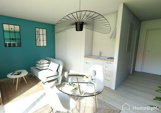 Aménager son studio de 35 m² en créant un véritable espace salon avec télévision