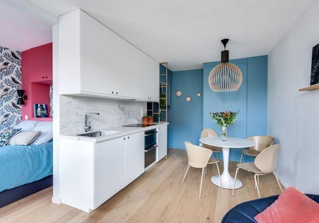 Après #3 : le même studio doté d'un espace chambre à la place de la cuisine