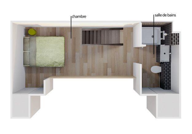 Le plan 3D du deuxième étage