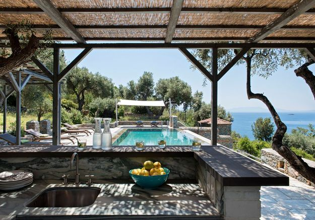 Une maison grecque à la vue époustouflante