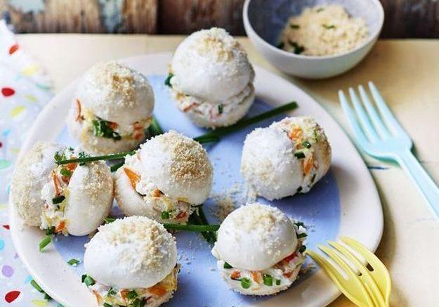 Plateau pour les kids : Champignons au fromage frais et crabe