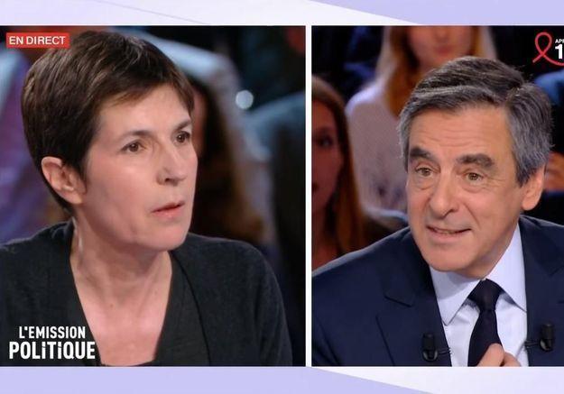 Christine Angot et François Fillon dans « L'Émission Politique » en mars 2017