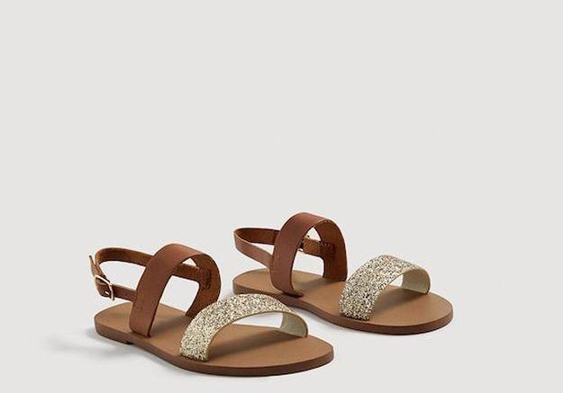 Sandales en cuir glitter Mango