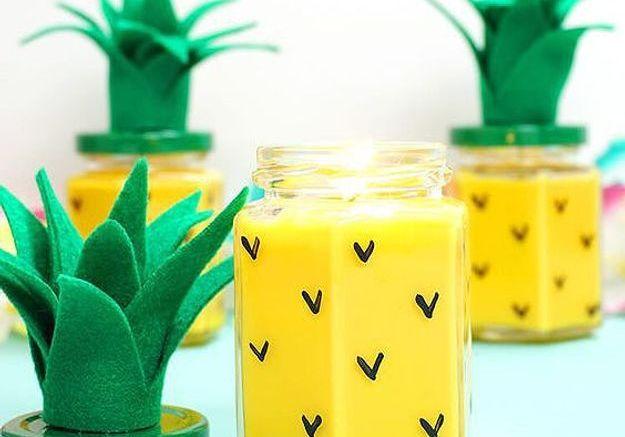 Bricolage fête des mères, bougie ananas