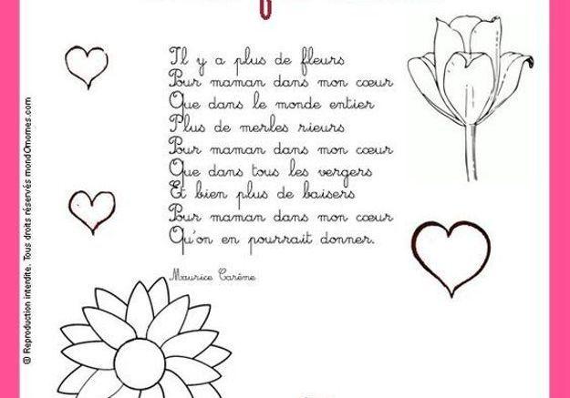 Coloriage et poème pour la fête des mères