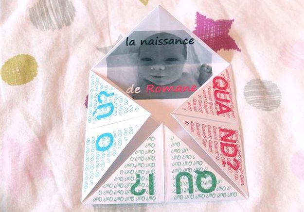 Faire-part de naissance origami