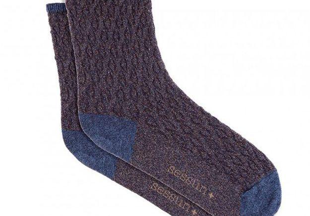 Chaussettes grises et bleues Sessun