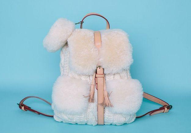 Le sac à dos en maille et fausse fourrure Muku