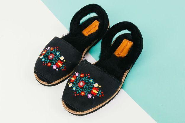 Les sandales Avarca Broderie Polka de Minorquines