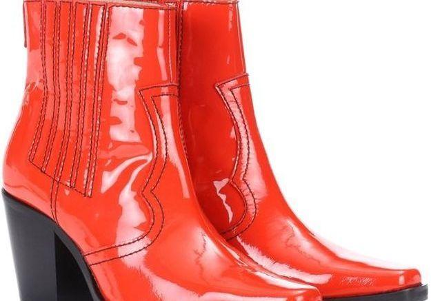 Bottes rouges façon santiag Ganni