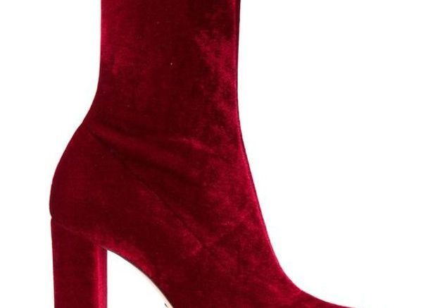 Bottines chaussettes en velours rouge Oscar Tiye