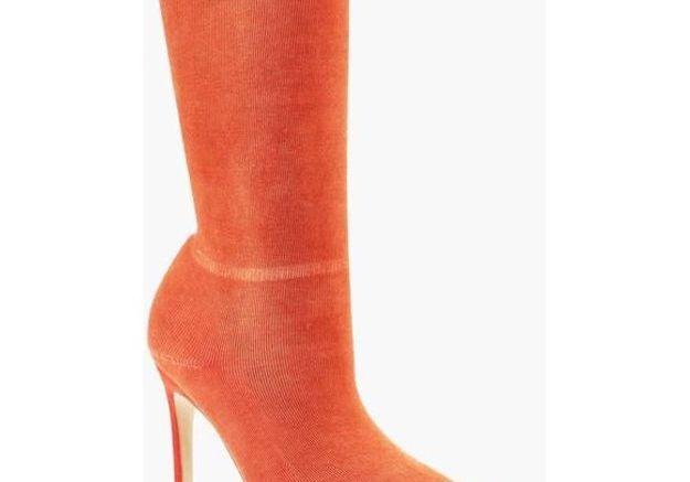 Bottines chaussettes orange Boohoo