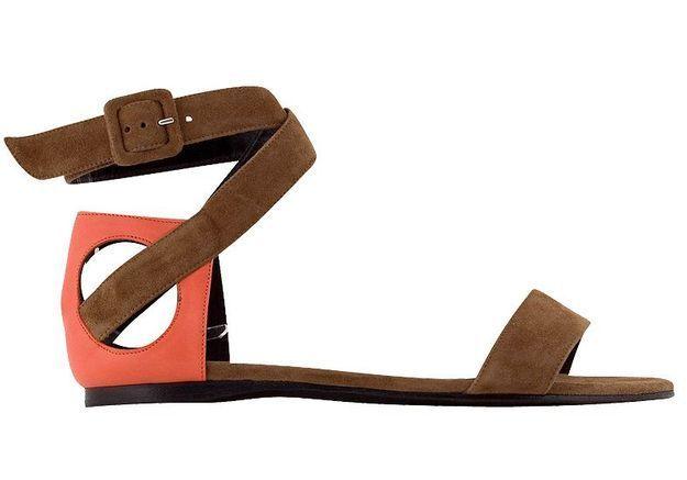 Mode guide shopping tendance accessoire chaussues sandales plates SUEDE CALF CAMEL GERANIUM