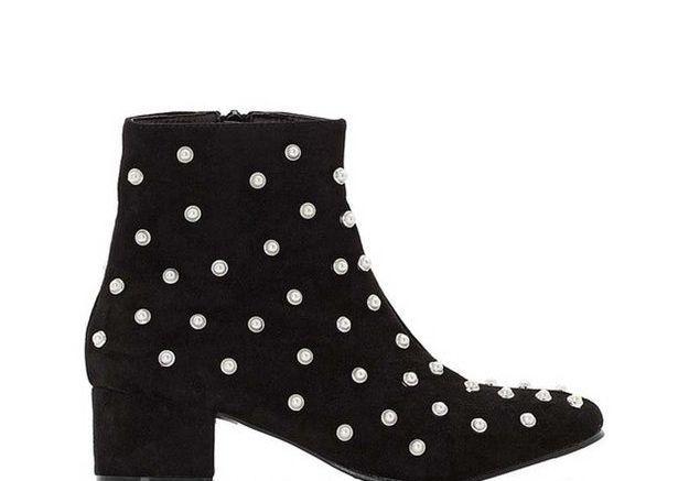 Boots à détail bijoux Noires, Mademoiselle R