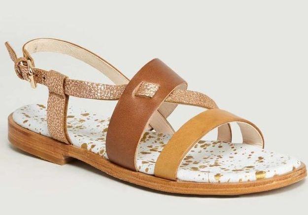 Sandales plates Craie