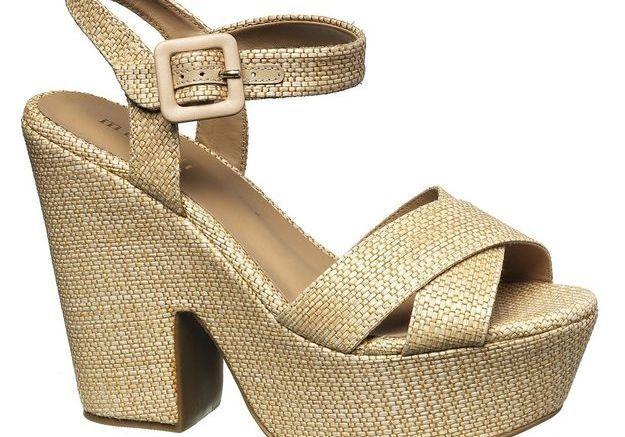 Sandales à plateau en cuir et paille