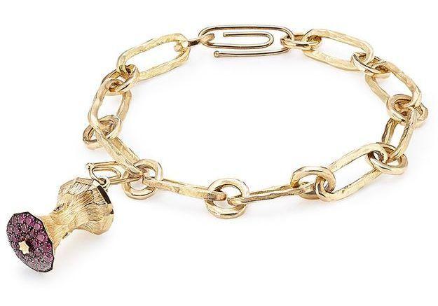 Bracelet à charm pomme en pierres précieuses