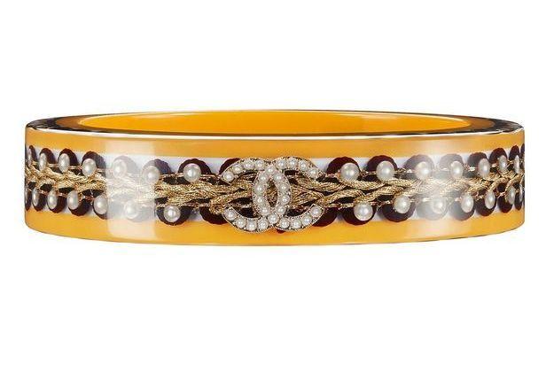 Bracelet en résine jaune Chanel Métiers d'art Paris-Salzbourg 2014/2015
