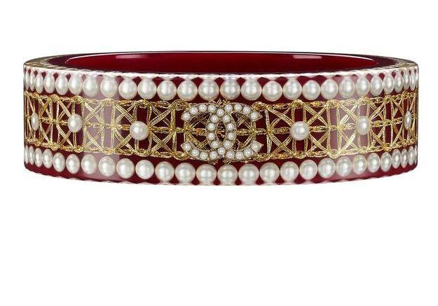 Bracelet en résine rouge Chanel Métiers d'art Paris-Salzbourg 2014/2015
